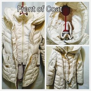White Hooded Knit Neck Down Puffer Coat